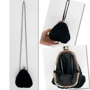 NORDSTROM BEADED BLACK VELVET DAINTY CHAIN PURSE
